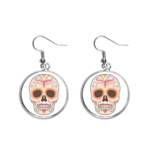 Flower Bird Cirrus Pink Skull Illustration Ear Dangle Silver Drop Earring Jewelry Woman