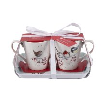 Wrendale Christmas Mug and Tray Set, One Snowy Day