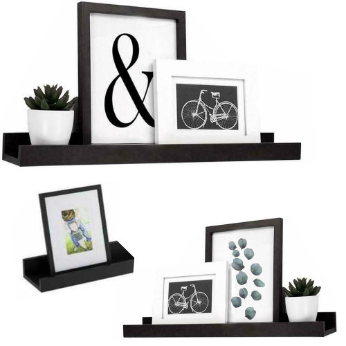 (Black) GEEZY Set of 3 Floating Wall Shelves Picture Ledge