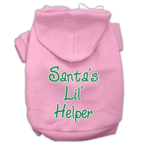 Mirage Pet 62-25-13 XXLLPK Santas Lil Helper Screen Print Pet Hoodies, Light Pink - 2XL