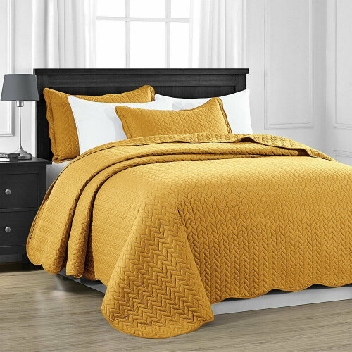 (Mustard, Super King) Luxury Quilted Bedspread Throw Set 3 PCs Bed Cover