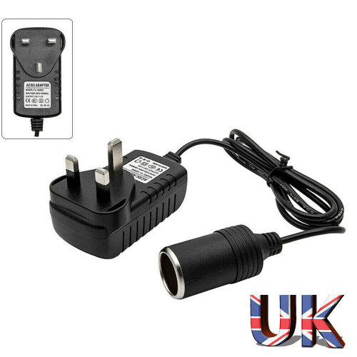 Car Cigarette Lighter 240V Mains Plug to 12V Socket Adapter AC/DC