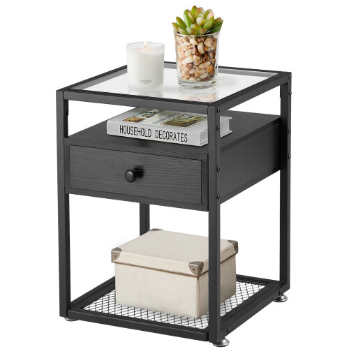 (Nightstand with shelves) VECELO Beside Table With Drawer | Tempered Glass End Table