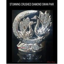 SWAN Crushed Diamond Glittery Ceramic Romany Silver SWAN PAIR UK GIFT