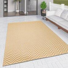 Outdoor Rug Yellow Cream Zig Zag Chevron for Decking Garden Patios Gazebo Large XL Small Woven Soft Geometric Mat