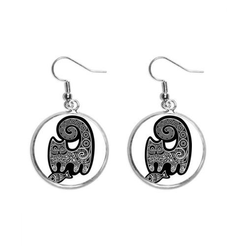 Black White Cat Fish Pattern Ear Dangle Silver Drop Earring Jewelry Woman