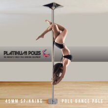 PLATINUM POLES 45mm Professional Spinning Pole Dancing Pole Fitness