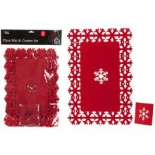 Red 8 Piece Felt Christmas Snow Flake Place Mat Set - Mats 4 Table Coasters -  mats 4 christmas place table coasters silver oval hand woven set