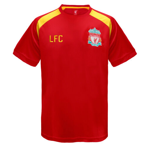 (Red, Small) Liverpool FC Official Football Gift Mens Poly Training Kit T-Shirt
