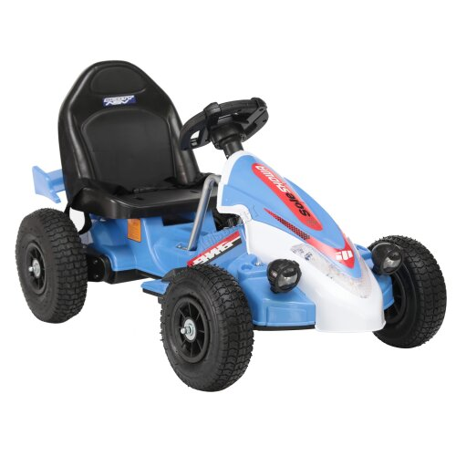 (Blue) GALACTICA Electric Kids Go Kart Racing Pedal Ride On Car Rubber Tyre 12V Battery