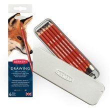 Derwent Coloured Drawing Pencils, Set of 6 with Sharpener 701089