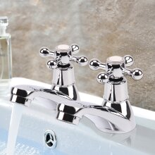 2 Taps Twin Hot and Cold Pair Tap Traditional Bath Bathroom Basin