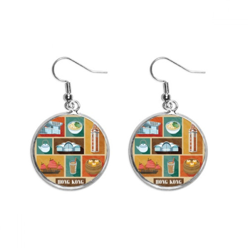 Hong Kong Local Food And Place Ear Dangle Silver Drop Earring Jewelry Woman