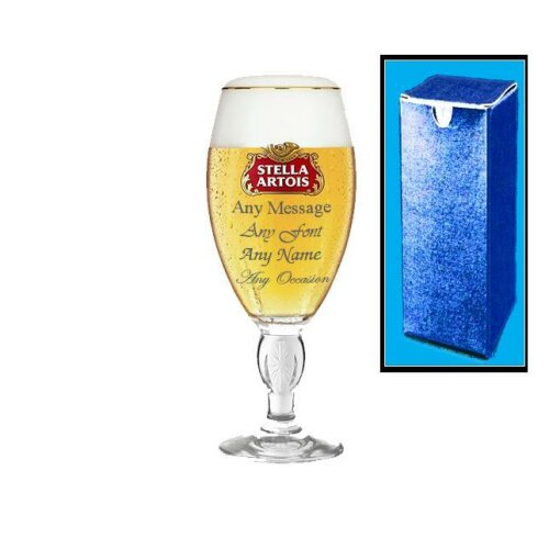 Personalised Engraved Stella Half Pint Glass 10oz Wedding Beer Birthday - Any Message Engraved