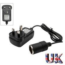 Car Cigarette Lighter 240V Mains Plug to 12V Socket Adapter AC/DC