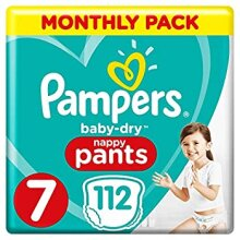 Pampers Baby-Dry Nappy Pants Size 7 112 Nappy Pants Monthly Saving Pack Easy-On with Air Channels for Up to 12 Hours of Breathable Dryness 17+ kg