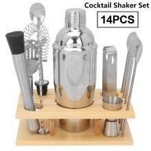14x Stainless Steel Cocktail Shaker Mixer Tool Set Bartender Maker Kit