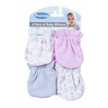 4 Pairs of Baby Mittens - Pink Baby Mittens