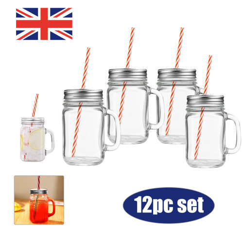 12 Mason Glass Jam Jar Drinking Cocktail Glasses with Straw Lid 450ml