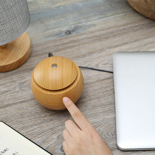 (Light Brown) Round Wooden Humidifier