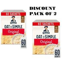 Quaker Oat So Simple Original 27g x 60 Sachets, Microwaveable  100% Porridge Whole Grains PACK OF 2
