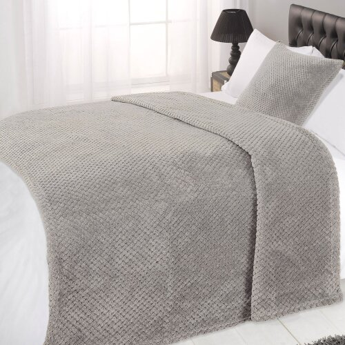 (Grey Silver, Single - 125 x 150cm) Dreamscene Luxurious Large Waffle Honeycomb Blanket Throw