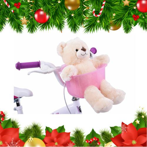 Xmas Gift Stocking Filler Kids Girls Pink Teddy Dolly Bike Basket Seat
