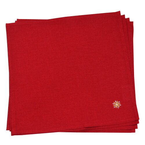"""Pack Of 4 Christmas Napkins Fabric Luxury Embroidered Baubles 16"""" x 16"""" - Red"""