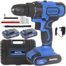21V Cordless Drill Driver Combi Drills Screwdriver 2 Batteries with Hammer
