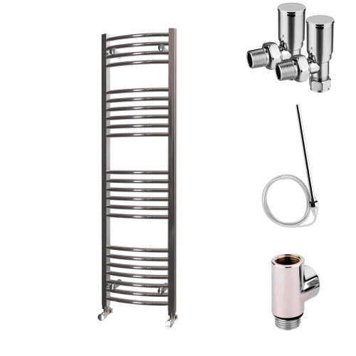 HB Essentials Zeno Chrome Curved Ladder Heated Towel Rail 1400mm x 400mm Dual Fuel - Non-Thermostatic