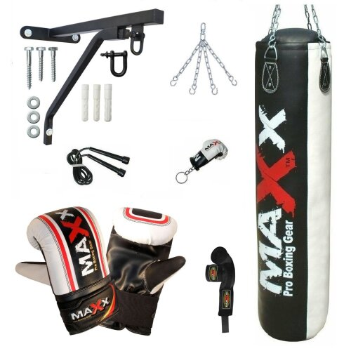 5ft Black/ White  Heavy Filled Punch bag boxing bag bracket Gloves