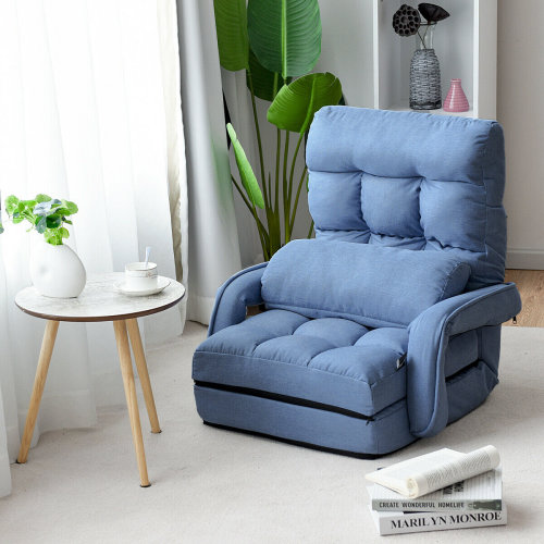2 IN 1 Folding Lazy Sofa Lounger Floor Gaming Armchair Bed Recliner Adjustable Blue