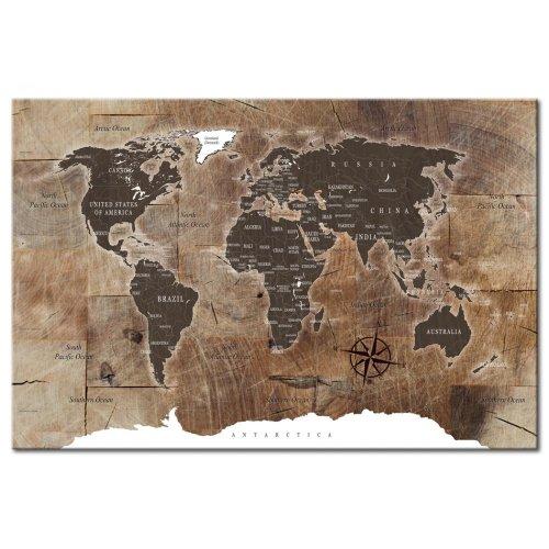 Wooden Mosaic Map Cork Pinboard