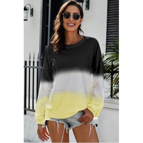 (S) Womens  Loose Pullover Sweatshirt Long Sleeve Crewneck Tops