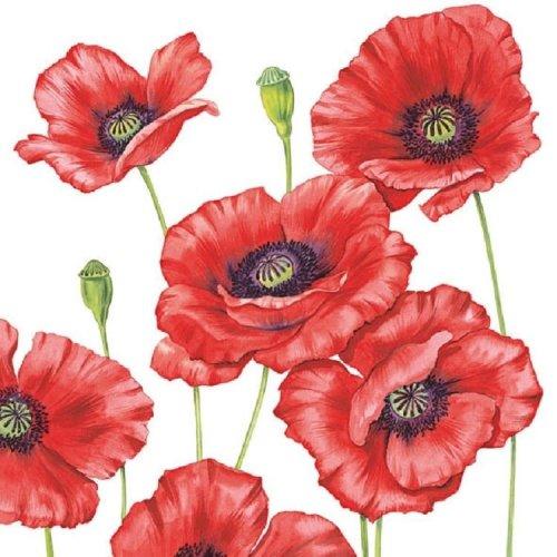 4 x Paper Napkins - Romantic Poppy - Ideal for Decoupage / Napkin Art