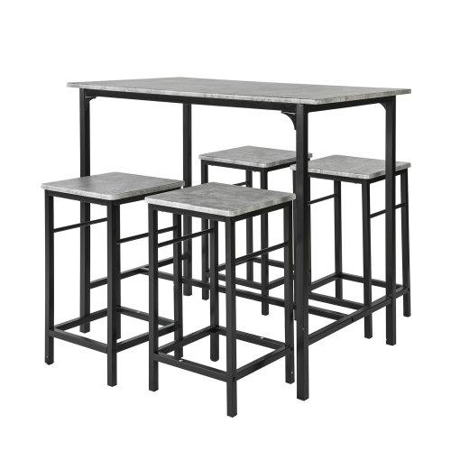 SoBuy® OGT11-HG, 1 Bar Table and 4 Stools, Kitchen Breakfast Dining Set