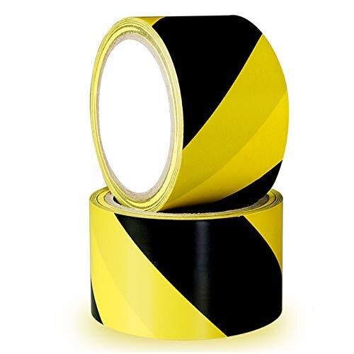 Hazard Warning Tape YTBUBOR 2 Pack 50mm*20m Black & Yellow Safety Tapes Marking Barrier Tape Adhesive Tape