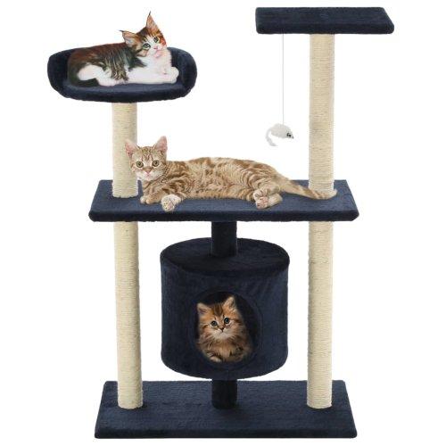 vidaXL Cat Tree with Sisal Scratching Posts 95cm Dark Blue Kitten Playhouse
