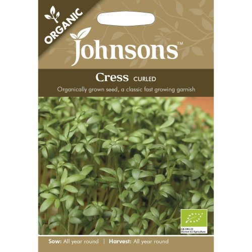 Johnsons Seeds - Pictorial Pack - Vegetable - Cress Curled (ORGANIC) - 2500 Seeds