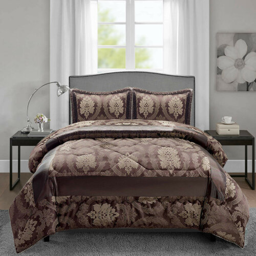 (Chocolate, Double) 3 Pcs Jacquard Quilted Bedspread Set + Pillowcases