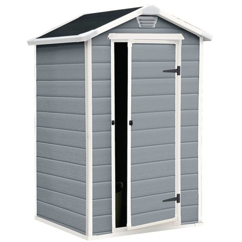 Keter Manor 4 x 3' Grey Plastic Storage Shed | Grey Garden Shed