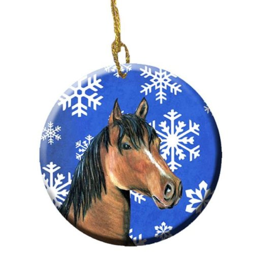 Horse Winter Snowflakes Holiday Ceramic Ornament, 2.81 Dia