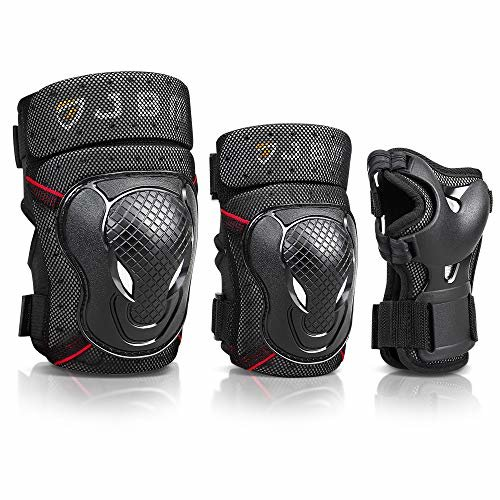JBM Adult BMX Bike Knee Pads and Elbow Pads with Wrist Guards Protective Gear Set for Biking Riding Cycling and Multi Sportsis Scooter Skateboard Bicy