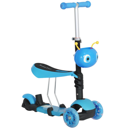 HOMCOM 5-in-1 Kids' Blue 3-Wheel Kick Scooter With Removable Seat