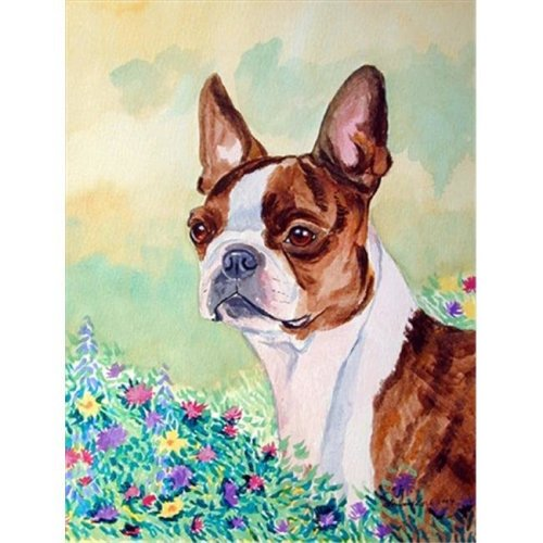 11 x 15 in. Red and White Boston Terrier Garden Size Flag