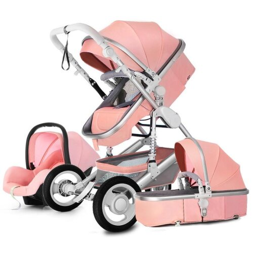 Baby Stroller 3 in 1 Luxury Travel Pram Carriage Basket Baby Car seat and cart