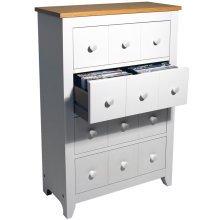 SHAKER - 228 CD / 104 DVD / Blu-ray / Media 4 Drawer Storage Unit - White / Beech