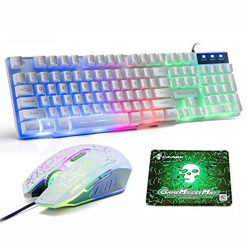LexonElec UK Layout Gaming Keyboard and Mouse Sets Rainbow Backlit Ergonomic Usb Gaming Keyboard + 2400DPI 6 Buttons Optical Rainbow LED Usb Gaming