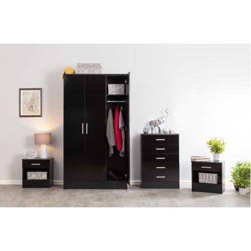 (Black) Bedroom Furniture Set Wardrobe Chest x2 Bedsides
