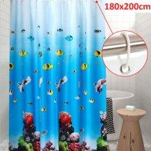 180 x 200CM Blue Long Drop PEVA Shower Curtain Waterproof Curtain